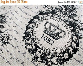 20% Summer SALE Crown Parchment Script Fabric, By The Yard, Upholstery Linen Weave~RARE Rustic, French Country, Chic Shabby