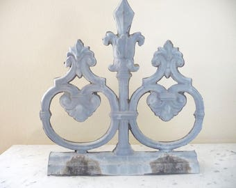 French Architectural Salvage, French Zinc Roof Fragment, Element Metal Salvage, Circa 1900s Shabby French Decor