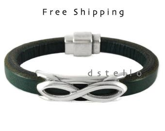 Men's Bracelet - Men's Infinity Bracelet - Men's leather Bracelet - Men's Jewelry - Men's Gift - Husband Gift - Present For Men - Boyfriend