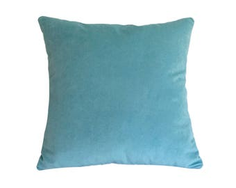 "Aqua Blue Velvet Suede Decorative Throw Pillow Cover / Pillow Case / Cushion Cover / 18x18"""