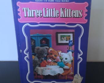 Vintage Children's 3D Book w Hologram - Three Little Kittens