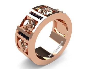 Mens Modern 14K Rose Gold Channel Black Diamond Skull Wedding Ring R413-14KRGBD