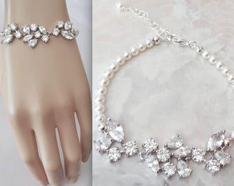 Pearl bracelet, Cubic Zirconia pearl bracelet, Brides pearl bracelet,Wedding bracelet,Leaf design, Marquise cut bracelet, High quality,LILLY
