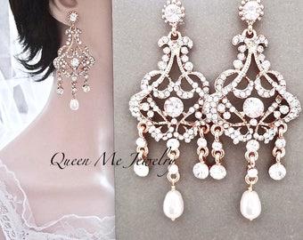 Gold pearl chandelier earrings,Brides earrings, Long gold crystal rhinestone earrings, Gold statement earrings ~ Wedding jewelry ~ EVA