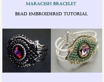 Summer sale -15% DIY , KIT, Tutorial ,Pattern, Bead embroidery ,Beading pattern , Instructions and Material, Maracesh bracelet