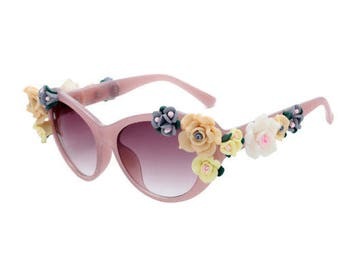Pink Rose Cat Eye Sunglasses with Rose Detailing