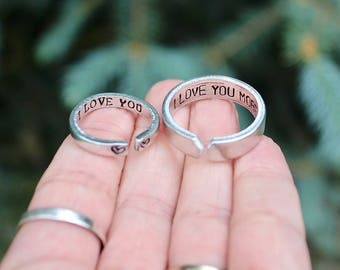 Couple Rings, Rings for Boyfriend and Girlfriend, I love you, I love you more, Couple Jewelry, Jewelry for couples, Customize Rings, Love