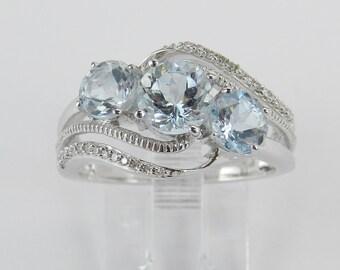 Three Stone Diamond and Aquamarine Engagement Ring Aqua Band White Gold Size 7 March Gemstone