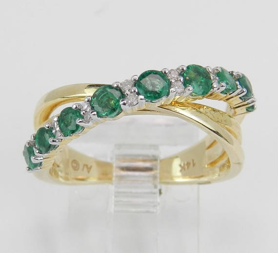 14K Yellow Gold Diamond Emerald Anniversary Band Multi Row Ring Size 7 May Gem