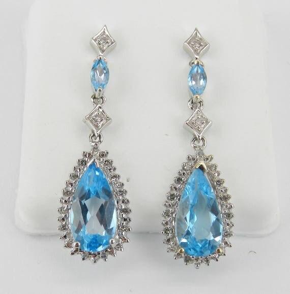 Blue Topaz and Diamond Dangle Drop Earrings 14K White Gold Wedding Earrings