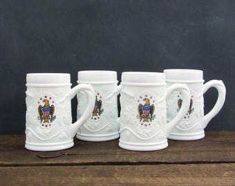 Set of 4 Milk Glass Patriotic Steins, American Eagle Tankard, Indiana Milk Glass Harvest Grape, Man Cave Decor
