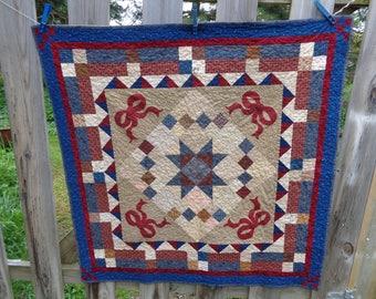 Patchwork with Bows Applique, Decor quilt, Almost Vintage 0530-01