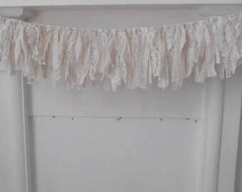 brocante garland aged garland 3 foot garland nursery decor cottage chic shabby decor wedding garland wedding decor shabby decor - 3 feet
