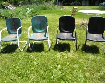 4 Vintage Mid Century METAL LAWN PATIO Outdoor Chair Pick Up Only Pa