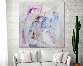 """White ABSTRACT PAINTING on canvas large wall art 36x36 fun fresh original art Ultra violet purple  """"Experimental Joy 02"""" by Duealberi"""