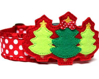 "Christmas Tree Felt Dog Collar Add-on For Dog Collar FOR 1.5"" BUCKLE COLLAR"
