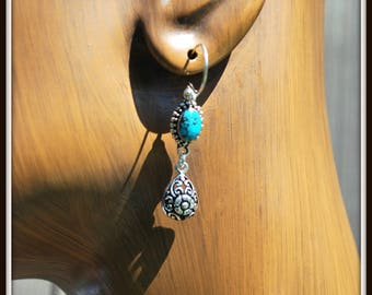 Turquoise Earrings, Turquoise Bali Sterling Silver Earrings, Bali Sterling Silver Flower Earrings, Vintage Turquoise Link Earrings, Bali