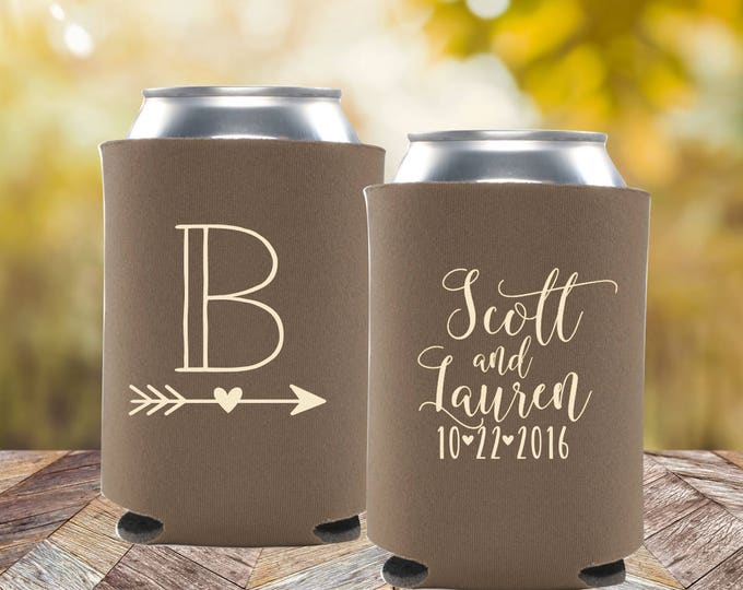 Rustic Wedding Favors | Personalized Can Coolers | Outdoor Wedding | Fall Wedding Favors | FREE Shipping