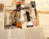 Creativity pack of papers fabrics beads and yarns for mixed media collage and stitch