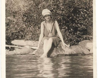 """Vintage Snapshot """"In The Swim Of Things"""" Early 1900's Swimming Costume Bathing Cap Water Reflection Found Vernacular Photo"""