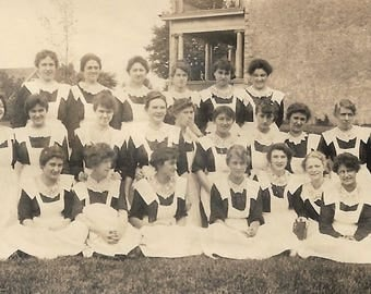 "Vintage Photo ""Stifle A Yawn"" Teenage Girl In Middle Of Class Photo Has To Yawn Nurses Graduation Found Vernacular Photo"