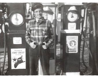 "Vintage Snapshot ""Polly Power"" Kendall Gasoline Texaco Fire Chief Gas Pumps Teenage Boy Gas Station Pump Jockey Found Vernacular Photo"