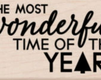 SALE Hero Arts  The Most Wonderful Time of the Year Wood stamp G6244  Christmas, Winter, Snow, Holiday