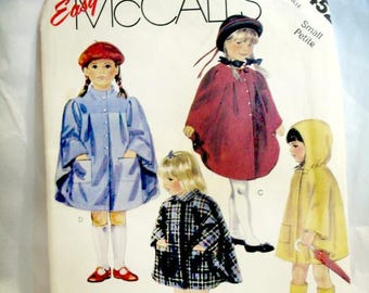 VINTAGE McCall's  3452 - EASY Girl's Cape pattern - Size Small 5 - 6