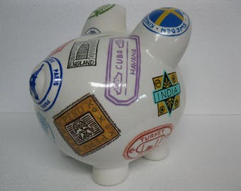 Vintage Travel Stamps Piggy Bank - Where Do You Want To Go - Large - MADE TO ORDER