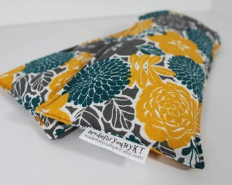 Neck & Shoulder Rice Bag - 4.5 x 21 inches, hot or cold therapy pack, gray, yellow, teal, floral pattern, rice heating pad