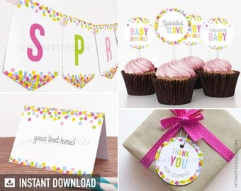 Baby Sprinkle - Party Pack - Baby Shower - INSTANT DOWNLOAD - Printable PDF with Editable Text (BB01)