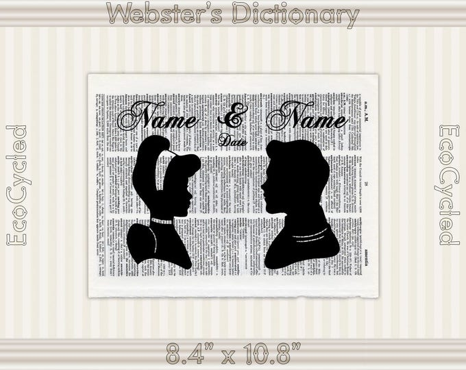 Cinderella and Prince Charming custom Names & Date Vintage Upcycled Dictionary Art Print Book Art Print Anniversary Wedding Princess