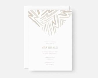 Personalized Housewarming Invitation / Minimalist Party Invite / Graphic Pattern / Neutral Taupe / Birthday, Graduation, Engagement