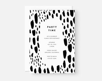 Modern Adult Birthday Invite / Painterly Invitation / Minimalist Party Invite / Black and White / Coed Baby Shower, Graduation, Engagement