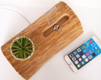 Wooden iPhone Dock + Plant Holder /  iPhone 6 dock / iPod 6s plus Dock / iPhone 6s dock / iPhone 7 dock / iPhone 7 plus dock / ceramic pot