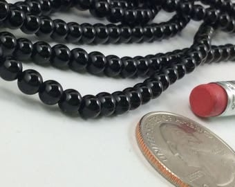 Natural Black Agate 4mm Round Beads, Full Strand G01163