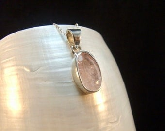 Natural Morganite Sterling Silver Necklace