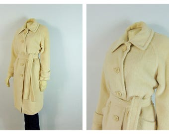 Vintage Coat 50s  Designer Denise Originals Llama Wool Trench Coat Belted Warmth Without Weight Size Medium to Large