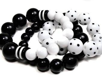 Black and White Polka Dot Beaded Stretchy Bracelets - set of 3