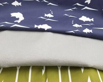 Crib Bedding Starter Set -  Navy Bass and Green Hooks