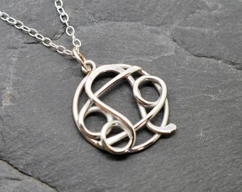 Cancer Leo combined zodiac necklace sterling silver
