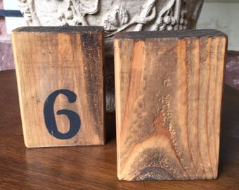 3 Wood Blocks Table Numbers Blank or with Number