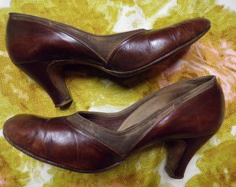 1940's VINTAGE sweetheart shoes by pennant LEATHER HEELS brown 7.5 8
