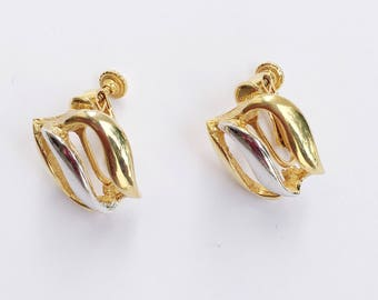 Gold and Silver Tone Crved Open Screw Back Earrings