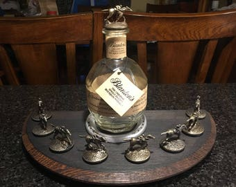 Blantons Bourbon Barrel Lid Stopper Display With Churchill Downs race Horse Horseshoe - Charred Top                       Ships 3 to 4 days