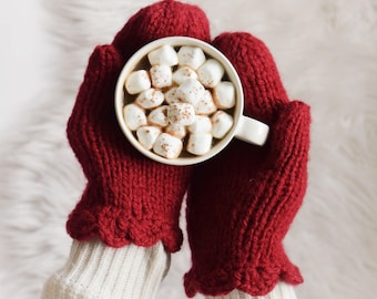 Red Knit Mittens ⨯ Women's Fashion Gloves, Red Mittens ⨯ Winter Fashion, Red Mittens ⨯ Red Knitted Mittens Holiday Red Mittens Gift For Her
