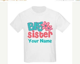ON SALE Big Sister Coral Teal Floral Personalized T Shirt Big Sister tshirt