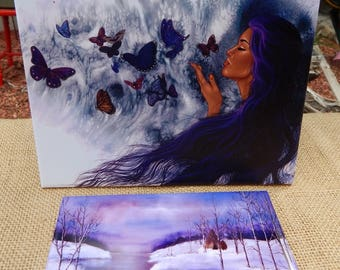 Native American Art on Tile  ~  Native American Woman with Butterflies on Tile  ~  Butterfly Maiden Tile  ~  Icy Creek Camp  Art on Tile