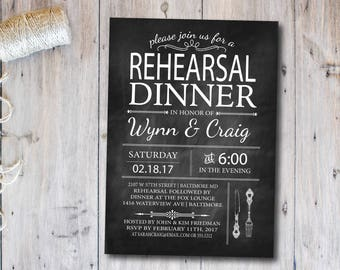 Rehearsal Dinner Invitation, chalkboard invitation, Rustic, blackboard, DIY, Floral, Engagement Party Invite, Utensils, Black and White