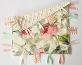 Emma Floral - Baby girl lovey tag sensory security blanket toy ivory minky personalized embroidered woodland vintage floral blush mint pink